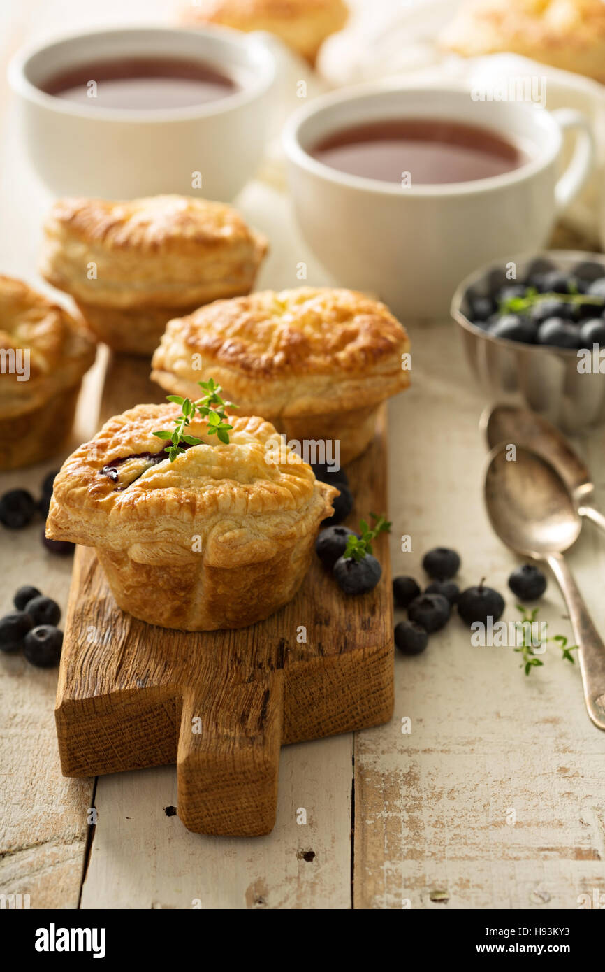 Puff pastries with cheese and berry filling Stock Photo