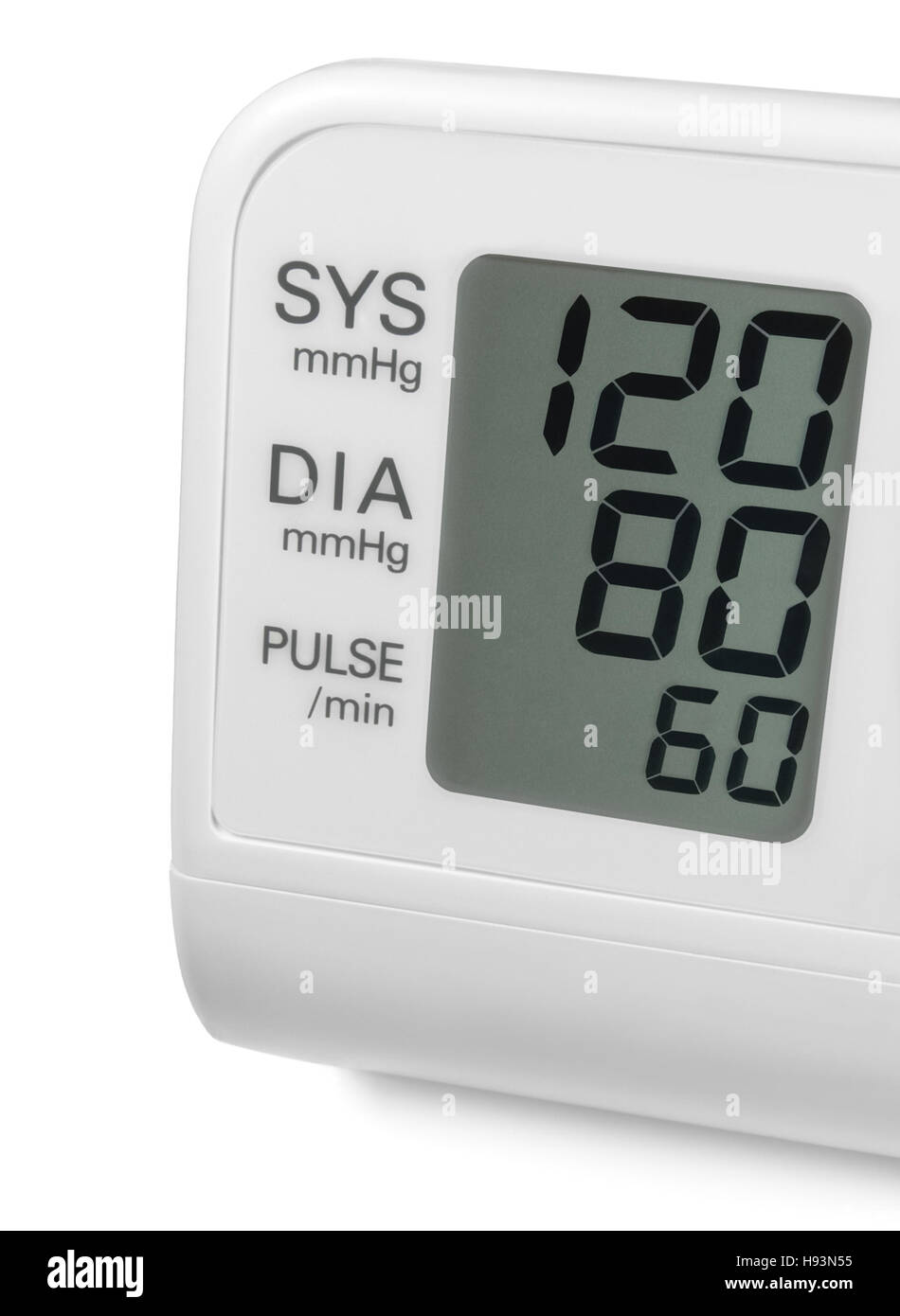 Digital blood pressure wrist monitor display screen showing ideal optimum 120 80 60 systolic diastolic pulse, isolated - Stock Image