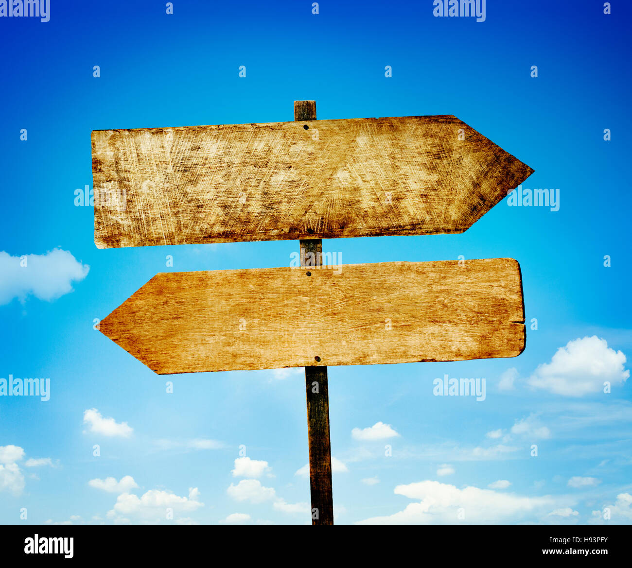 Wood Labels With Sky Guidance Signpost Concept - Stock Image