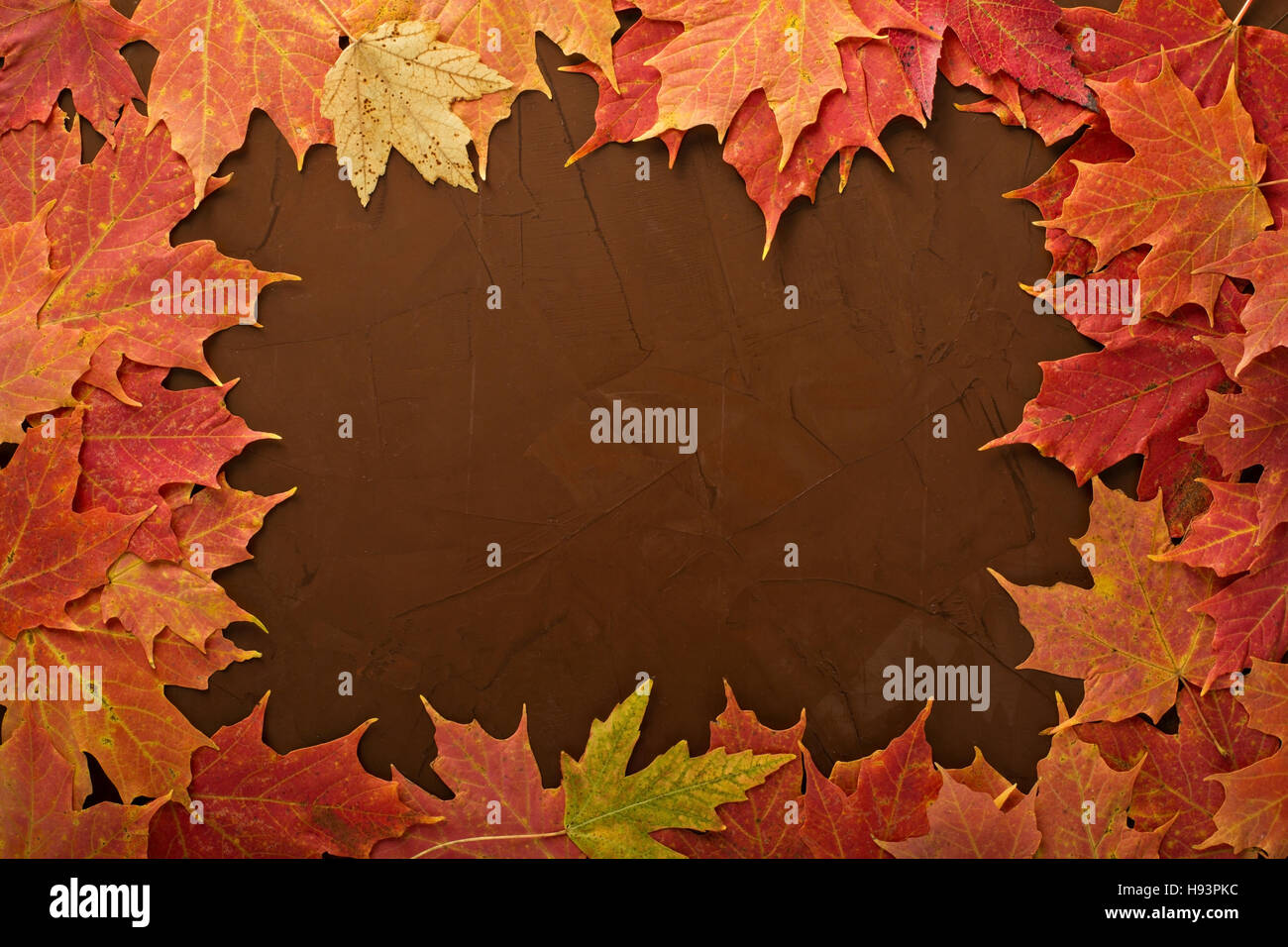 Fall leaves frame on brown background - Stock Image