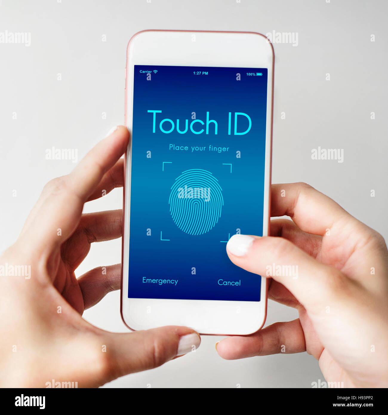 Touchscreen Lock Finger Scanner Concept - Stock Image