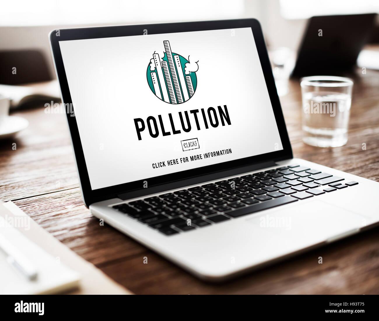 Pollution Emission Fog Hazard Mist Pollute Smog Concept - Stock Image