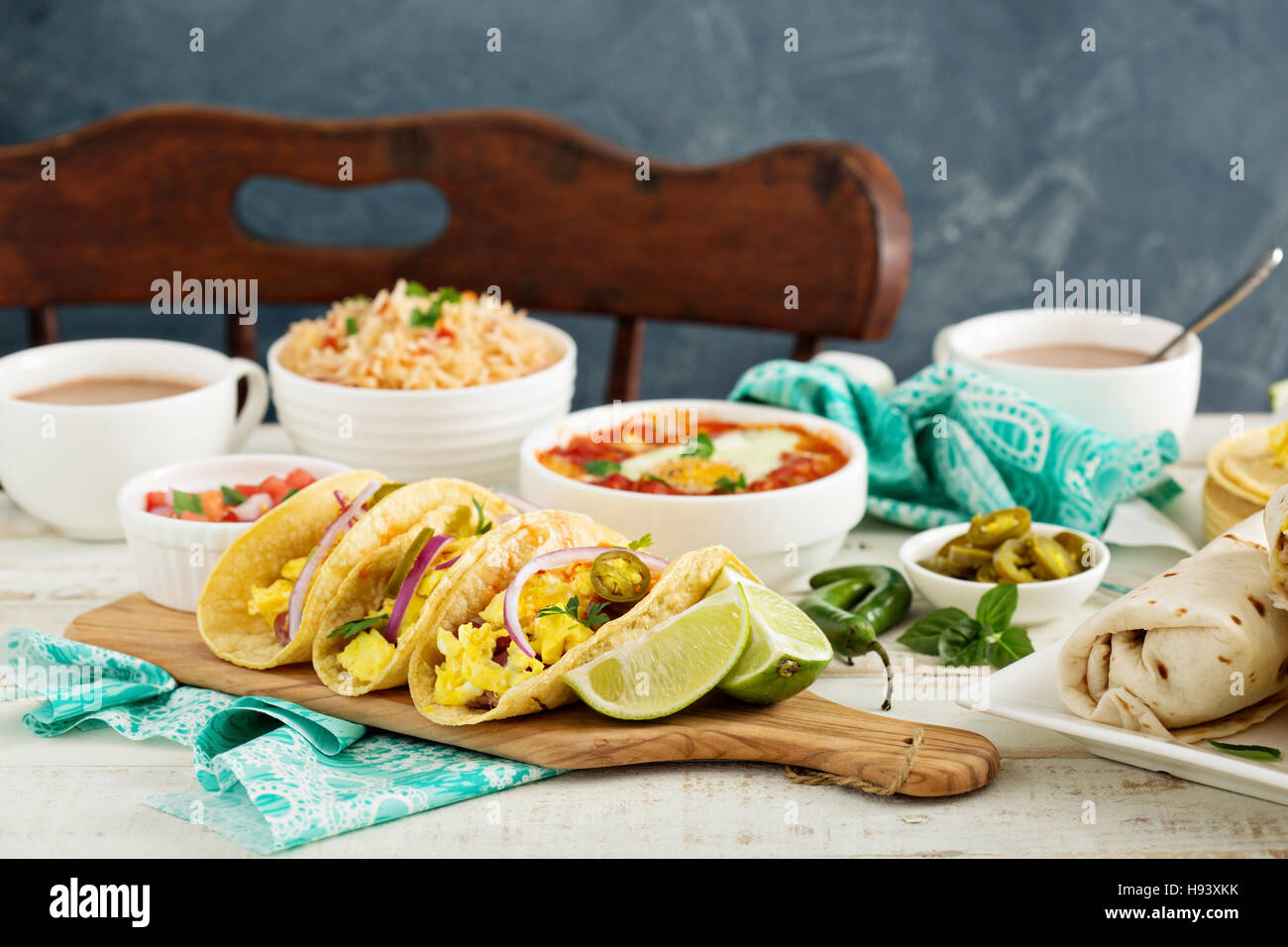Breakfast tacos with eggs Stock Photo