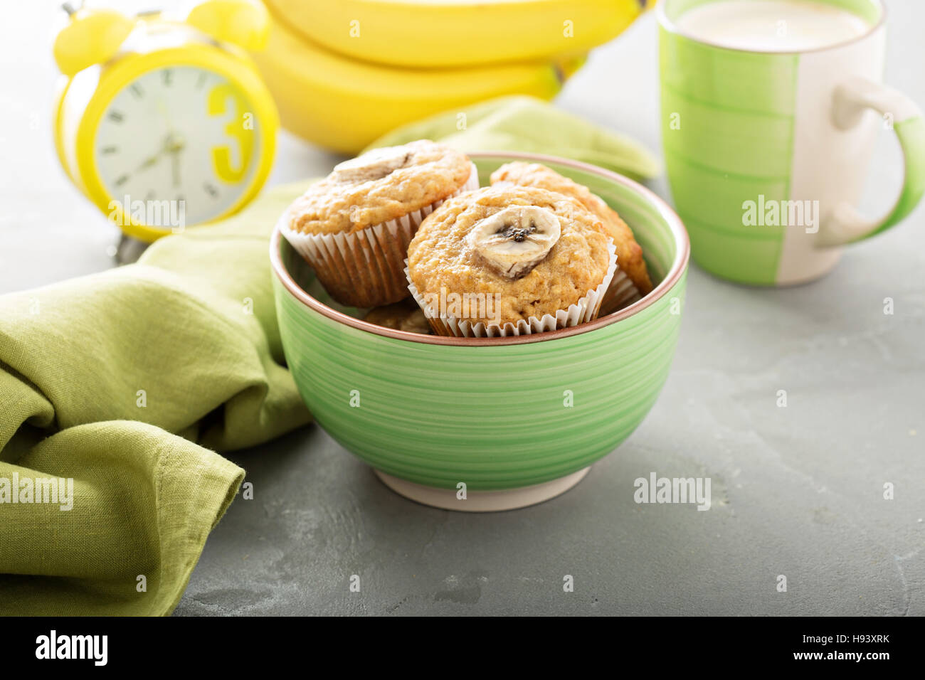 Banana muffins with coffee - Stock Image