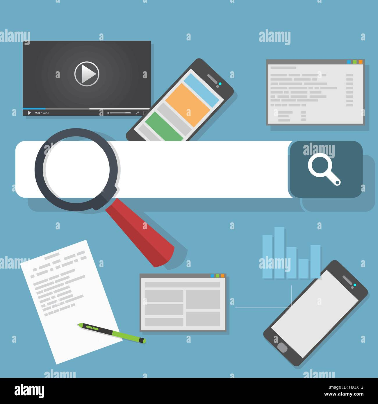 Search engine optimization illustration. SEO analytics and web development flat icons. - Stock Vector