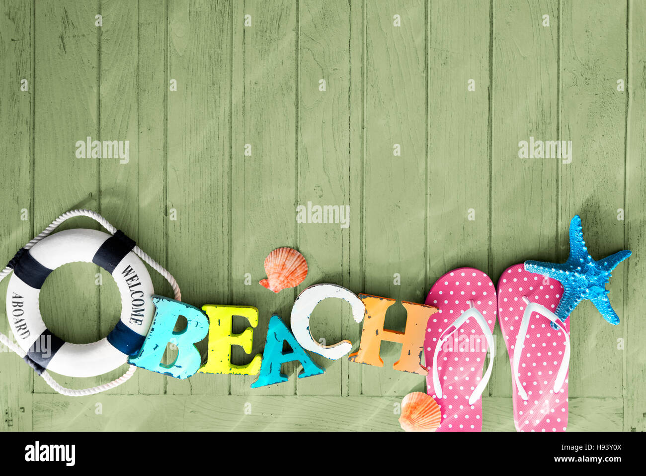 Beach Objects Empty Space Concept - Stock Image