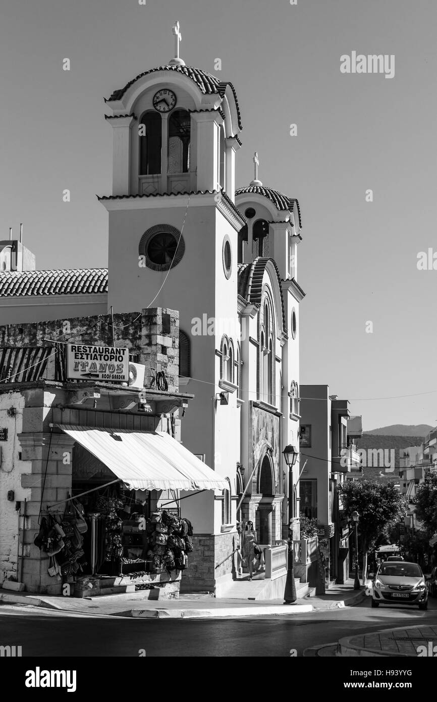 CRETE, GREECE - JULY 11, 2016: The Church of the Holy Trinity of the coastal town of Agios Nikolaos. Black and white. - Stock Image