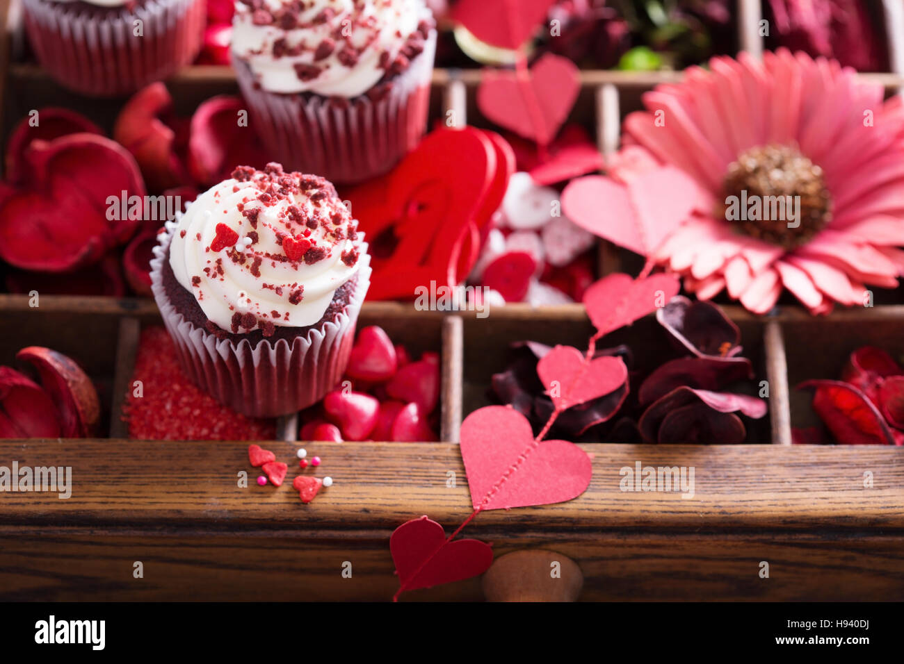 Red decorations for Valentines day - Stock Image