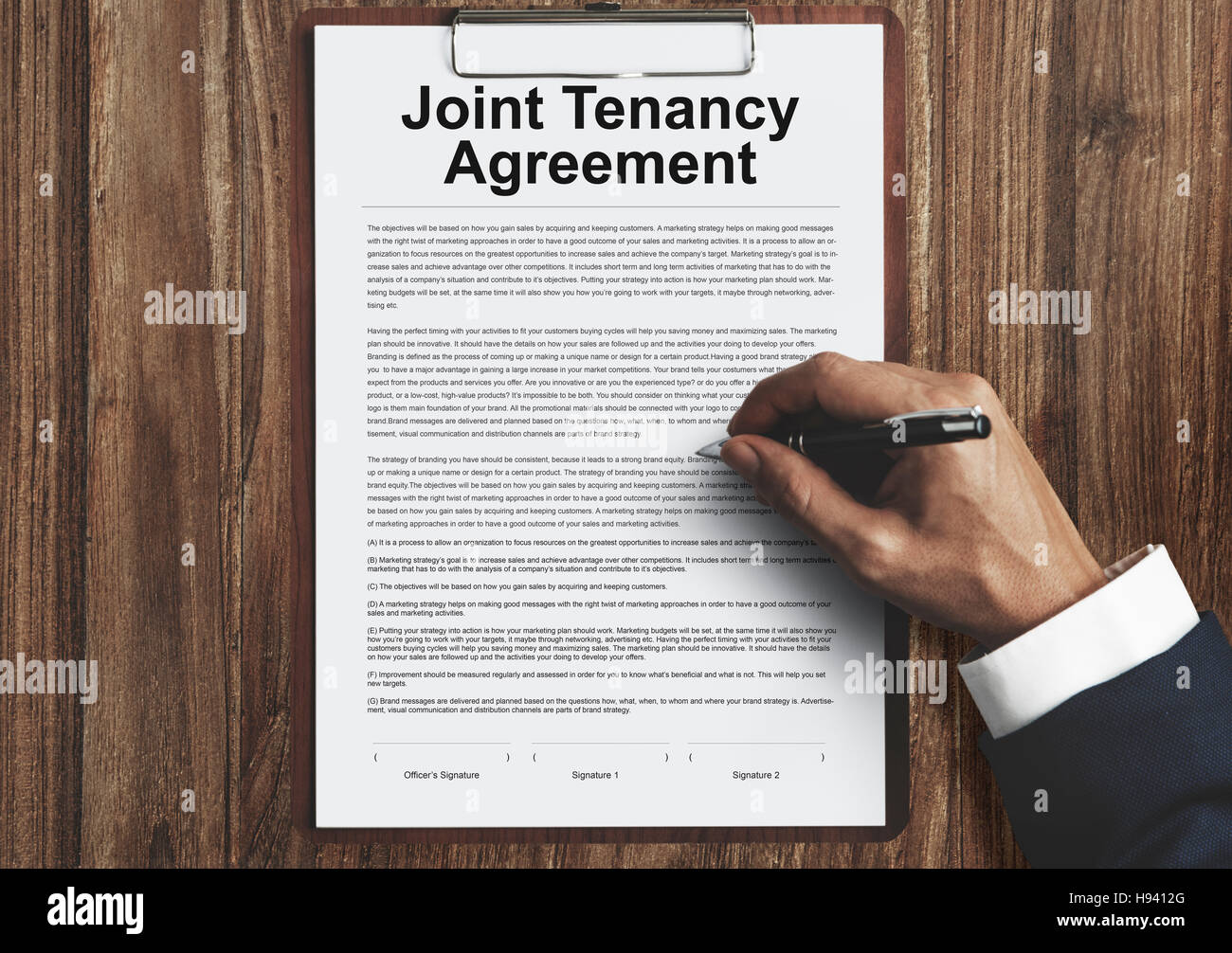 Joint Tenancy Agreement Property Renting Stock Photos Joint