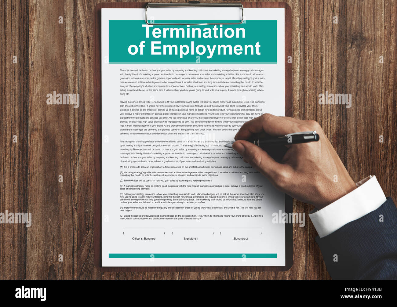 Termination of Employment Form Concept - Stock Image