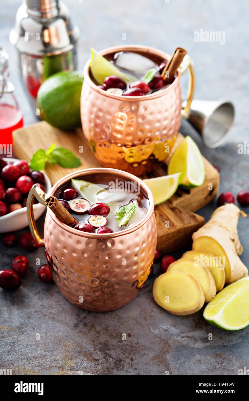 Moscow mule cocktail with ginger and cranberry - Stock Image