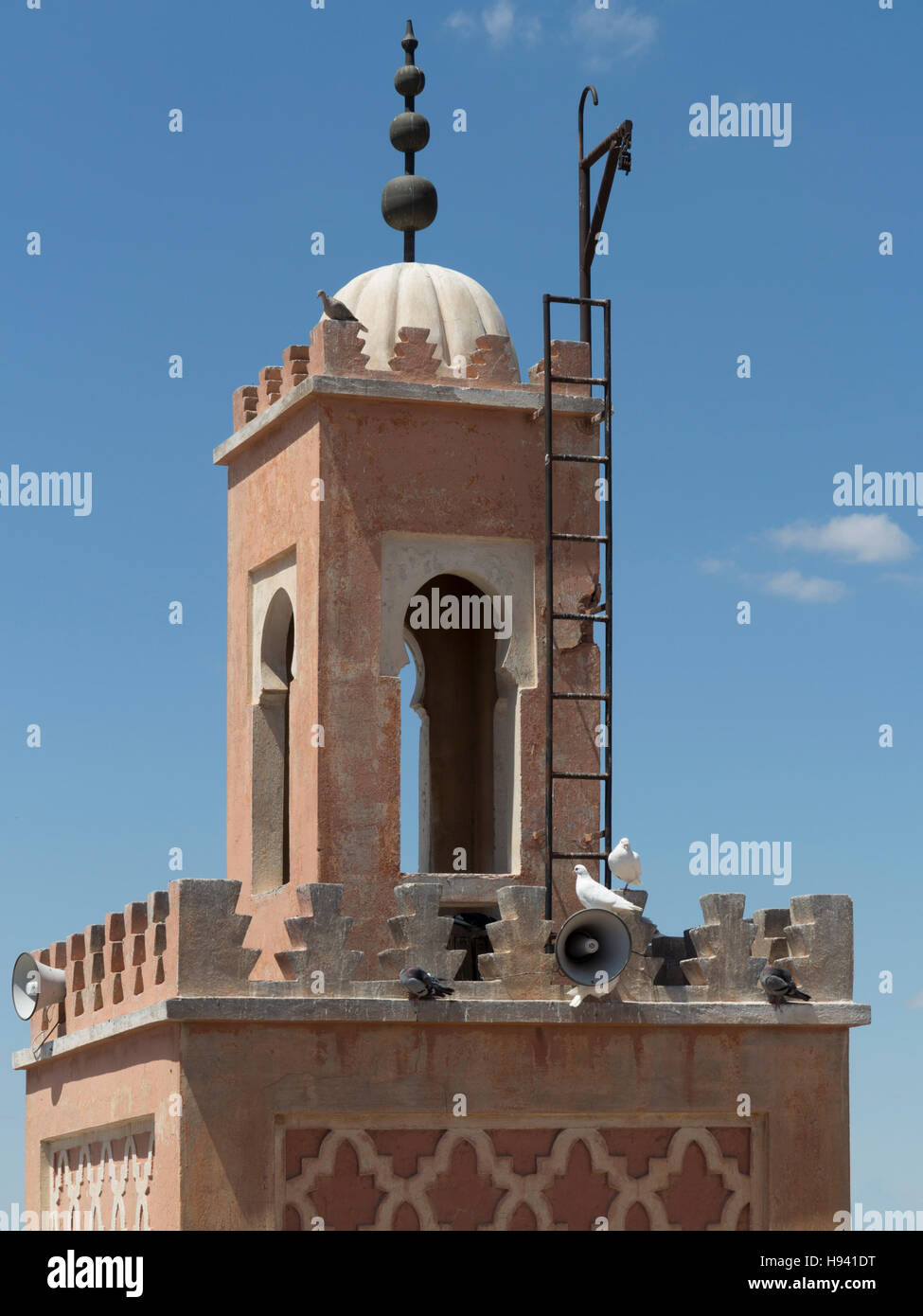 Minaret of a mosque in Marakech, Morocco, North Africa - Stock Image