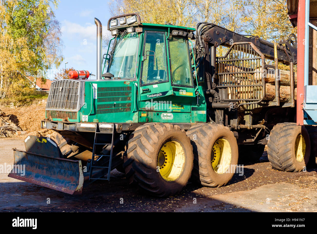 Brakne Hoby, Sweden - October 29, 2016: Documentary of public access industrial area. Timberjack 1710 forwarder Stock Photo