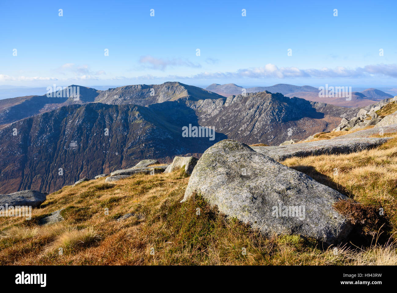 View from the top of Goatfell, Isle of Arran, North Ayrshire, Scotland - Stock Image