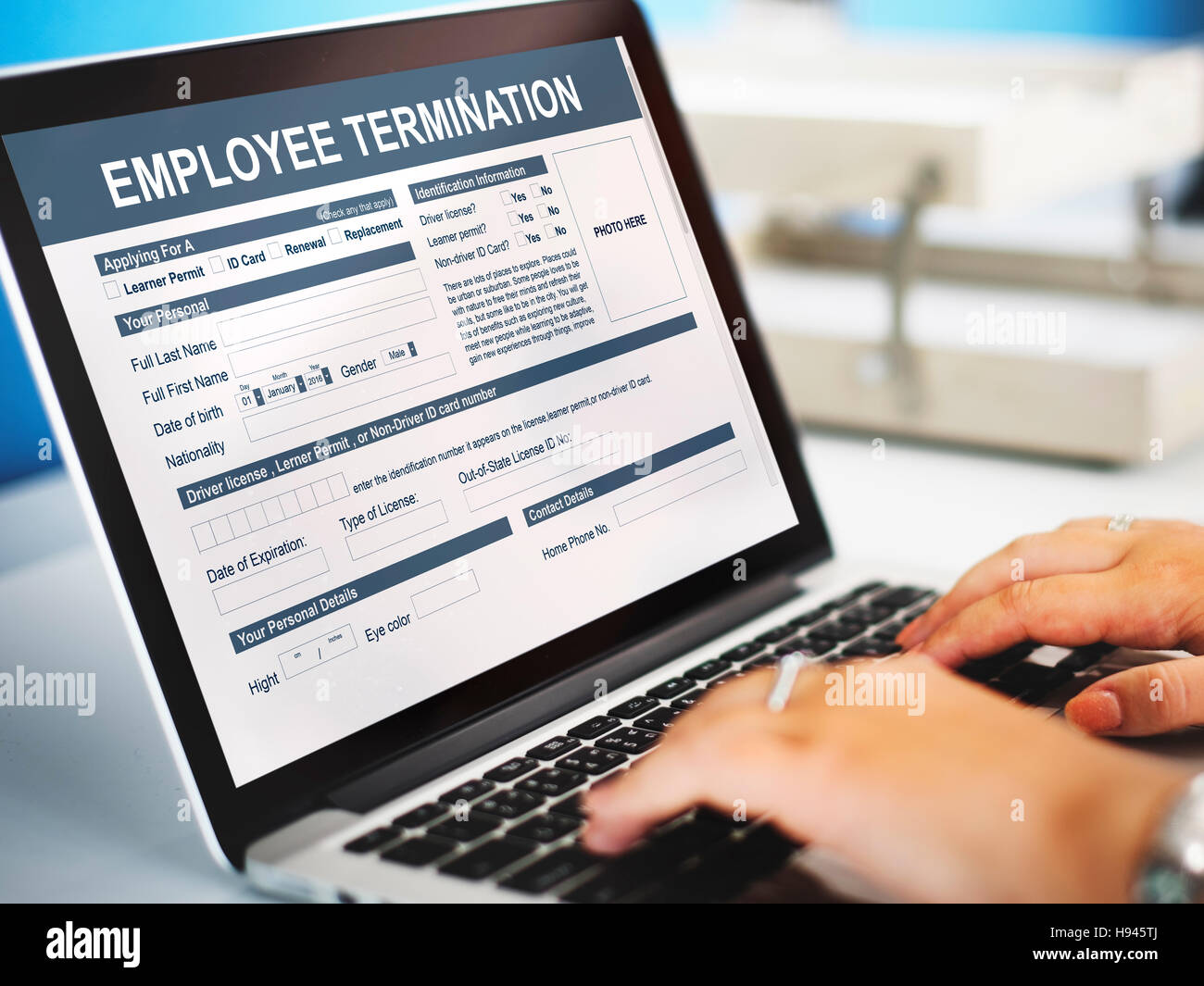 Employee Termination Form Contract Concept - Stock Image