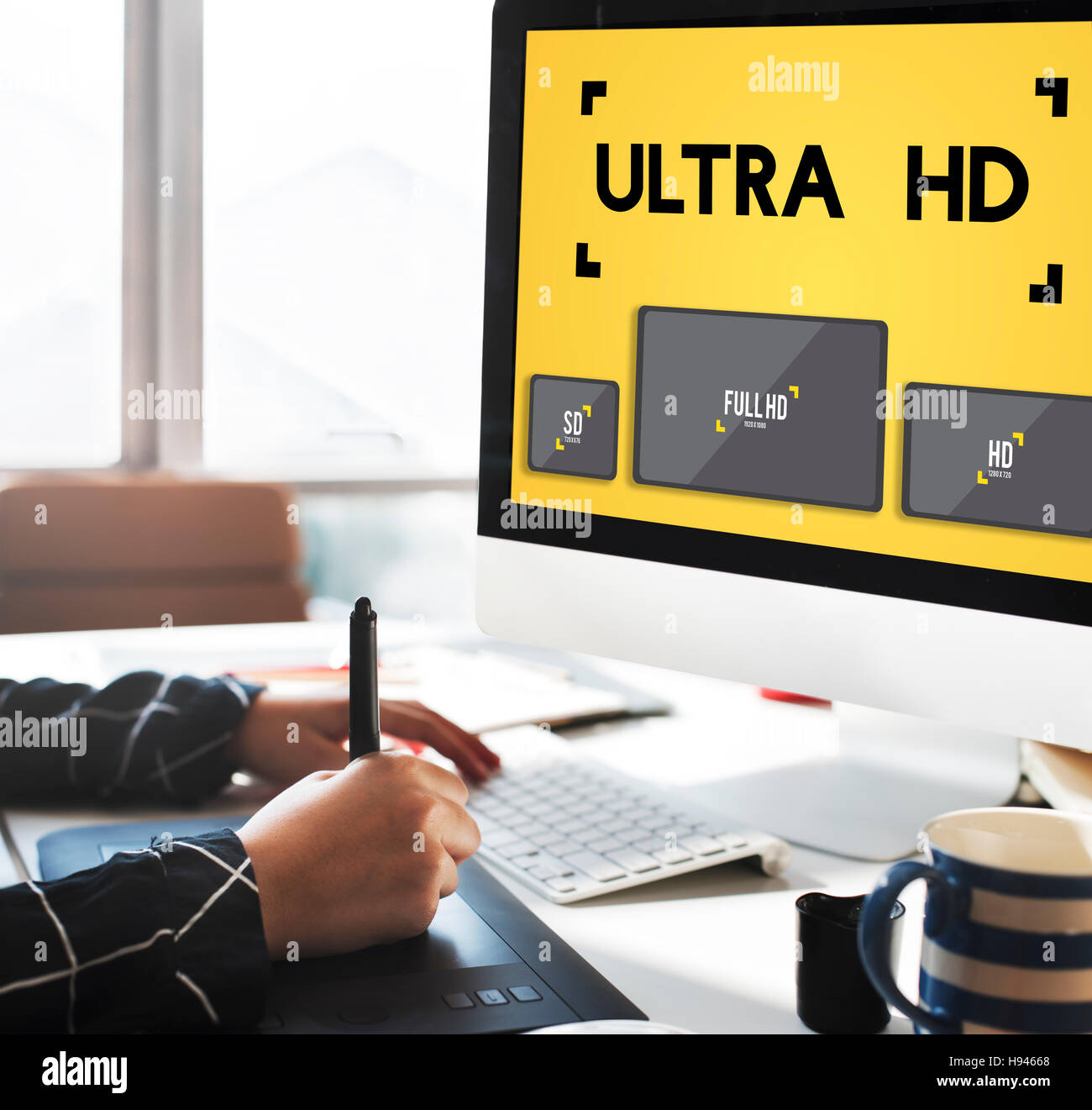 Ultra HD Definition Monitor Resolution Screen Concept - Stock Image