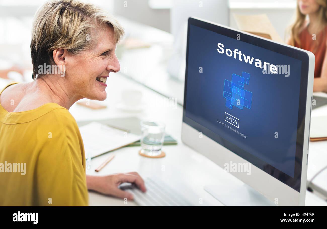 Software Digital Electronics Internet Programs Concept - Stock Image