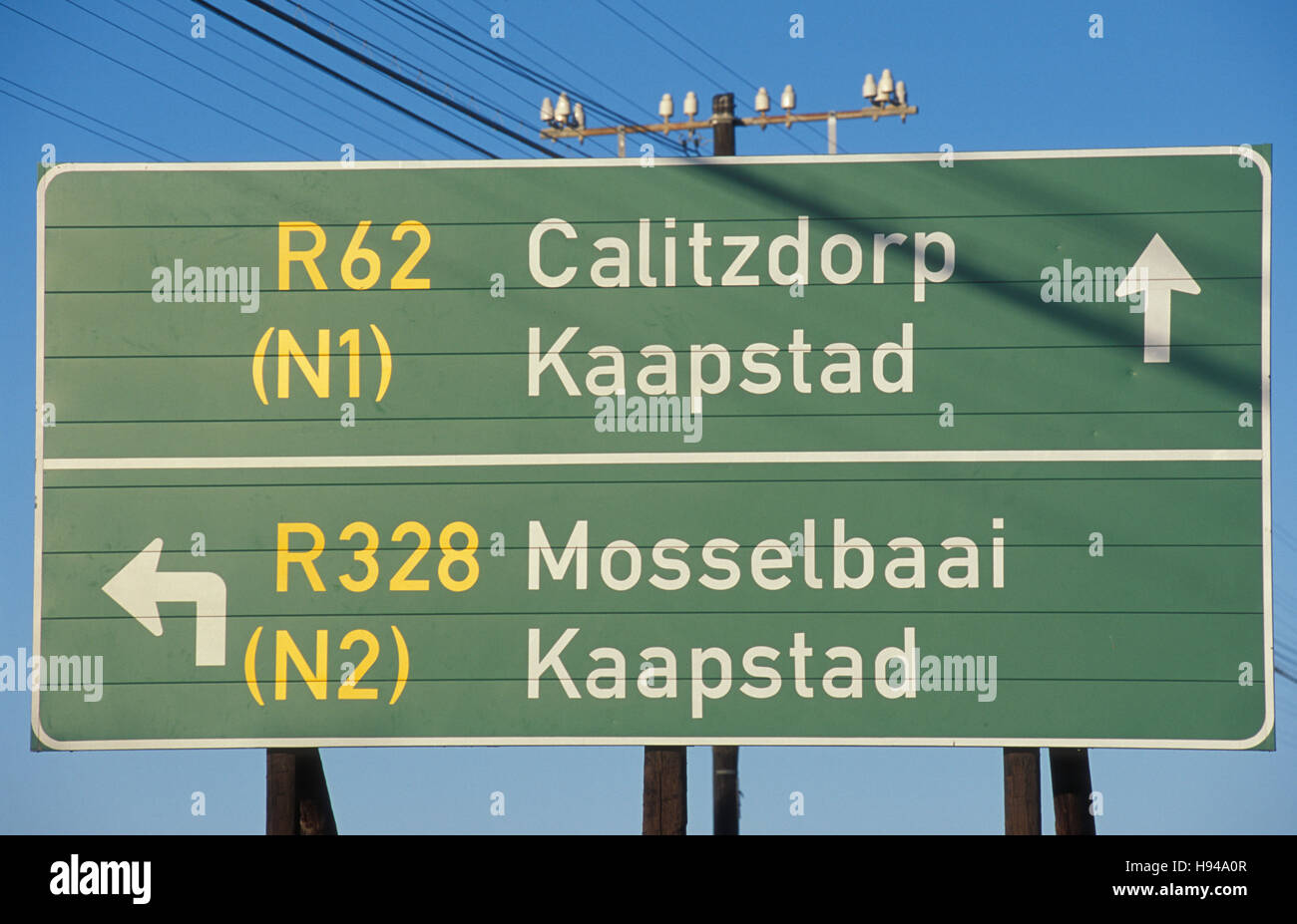 Street sign in Afrikaans, Cape Dutch, Oudtshoorn, Garden Route, South Africa - Stock Image