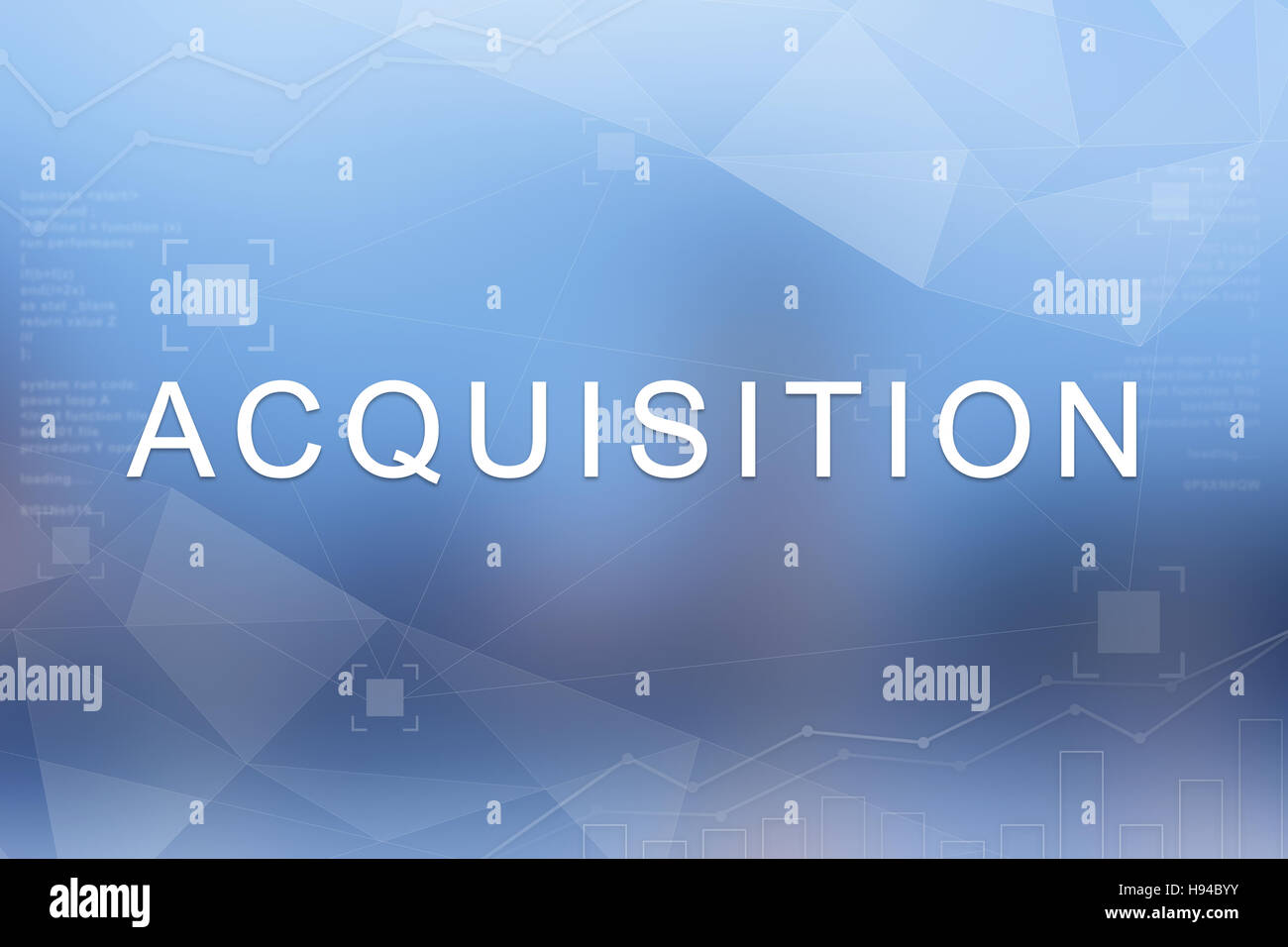 Acquisition word on blue blurred and polygon background - Stock Image