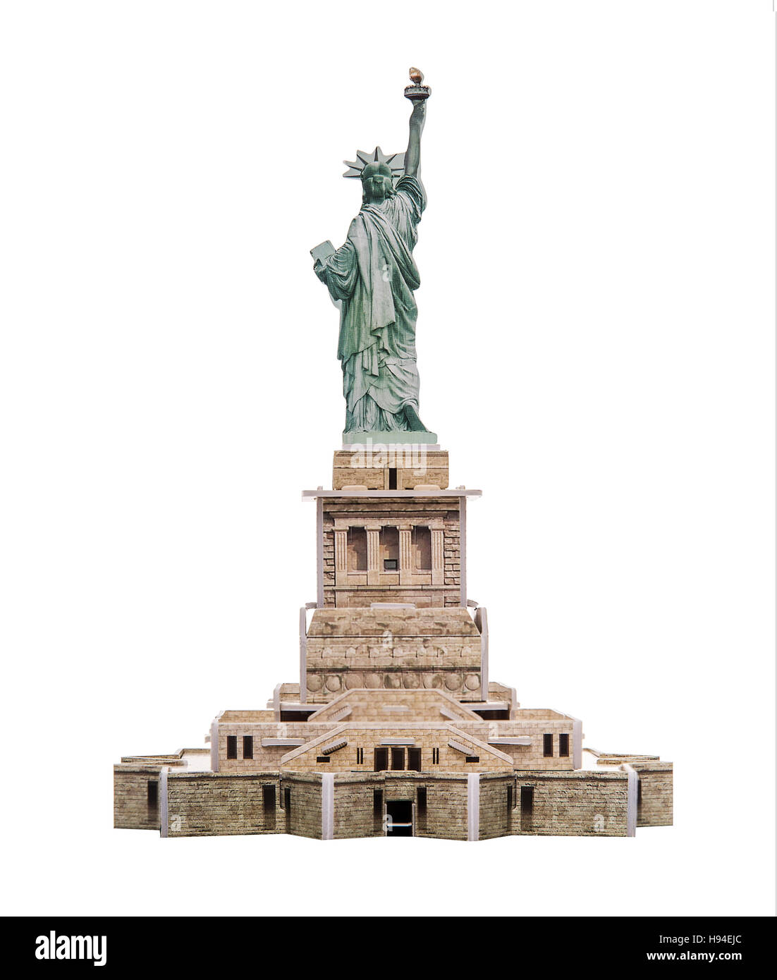 Statue of Liberty paper model on white background. - Stock Image