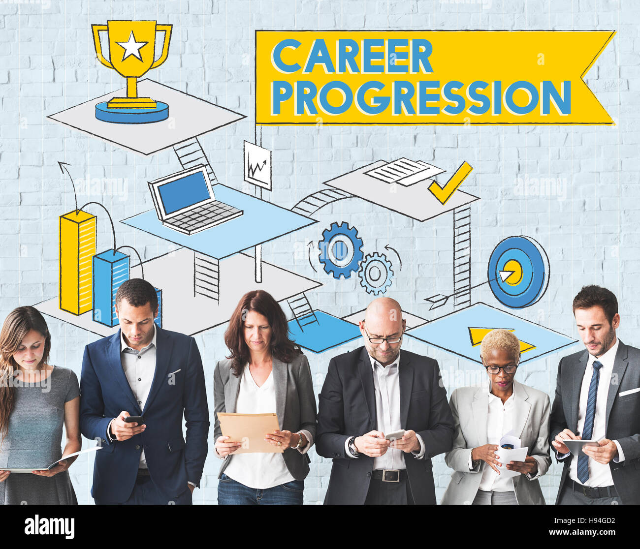 Career Progression Promotion Achievement Success Concept - Stock Image