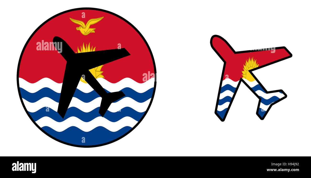 Nation flag - Airplane isolated on white - Kiribati - Stock Image