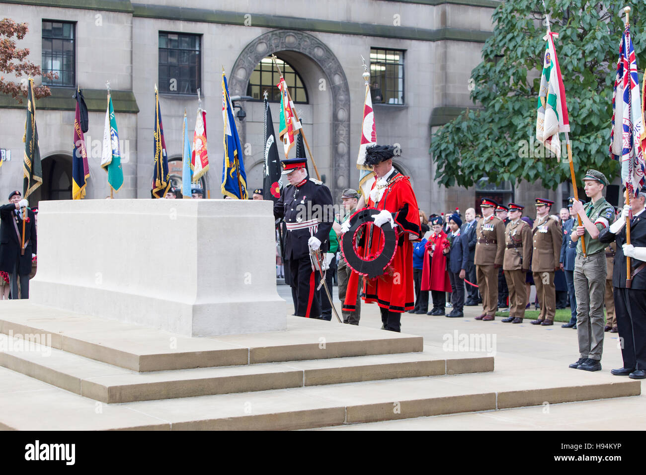 Remembrance Sunday in Manchester today (Sunday 13th November 2016)  Remembrance Sunday at the Cenotaph , At Peter's - Stock Image