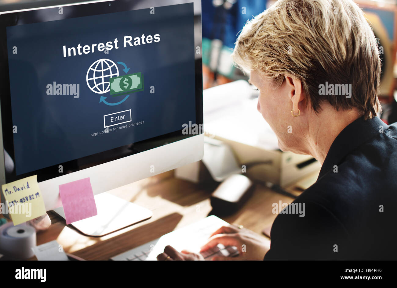 Interest Rates Economy Financial Percentage Concept - Stock Image