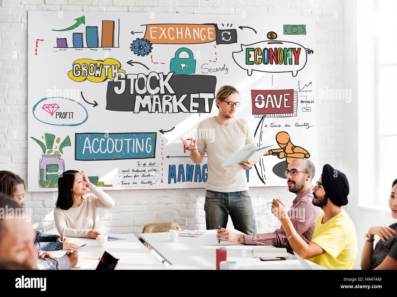 Stock Market Finance Exchange Economy Forex Concept - Stock Image