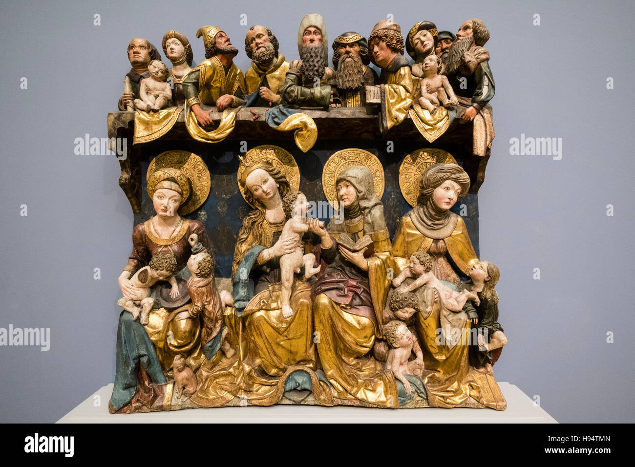 Holy Kinship religious carving in Bode Museum , berlin, Germany - Stock Image
