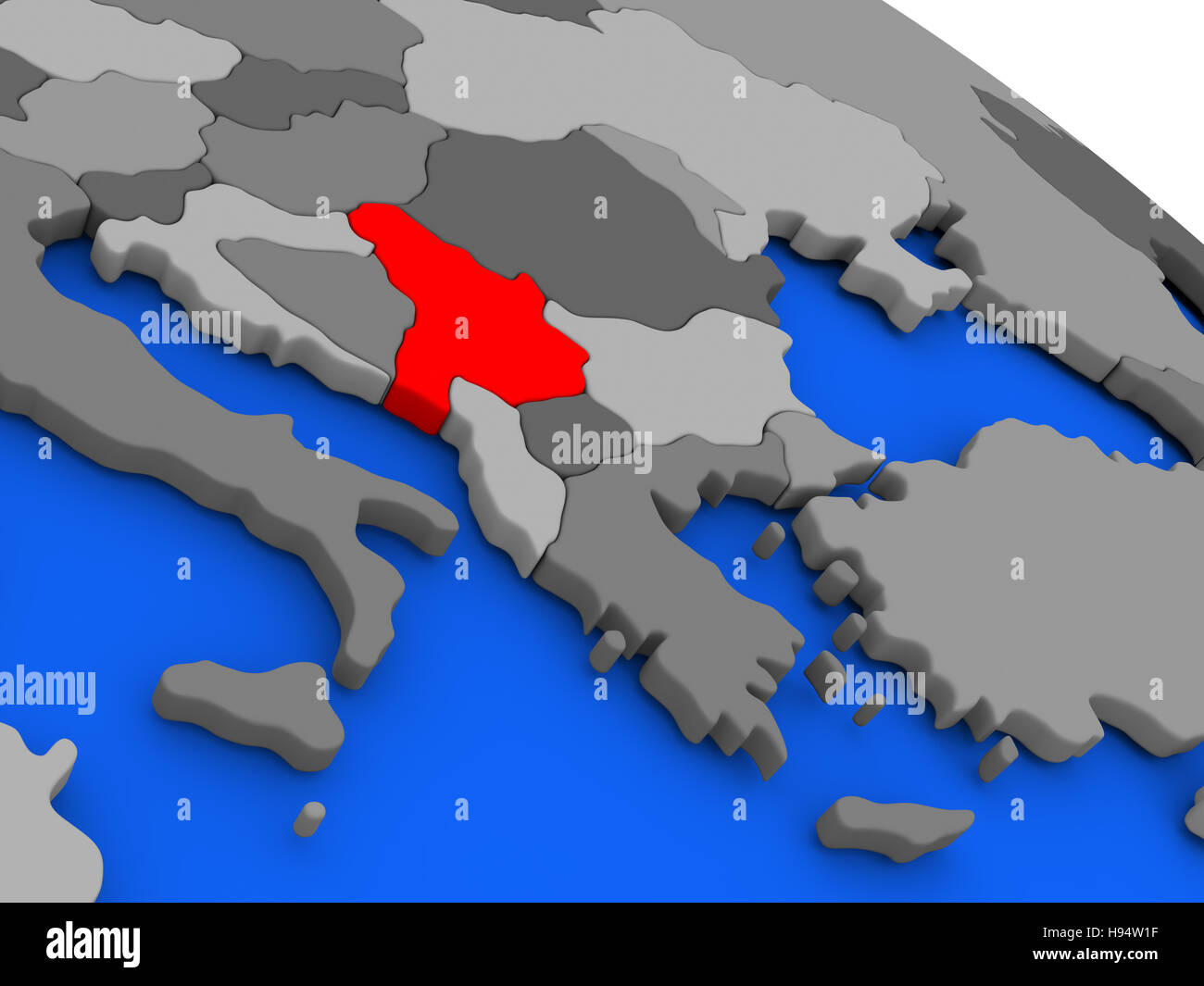 Map Of Serbia Highlighted In Red On A Globe 3d Illustration Stock