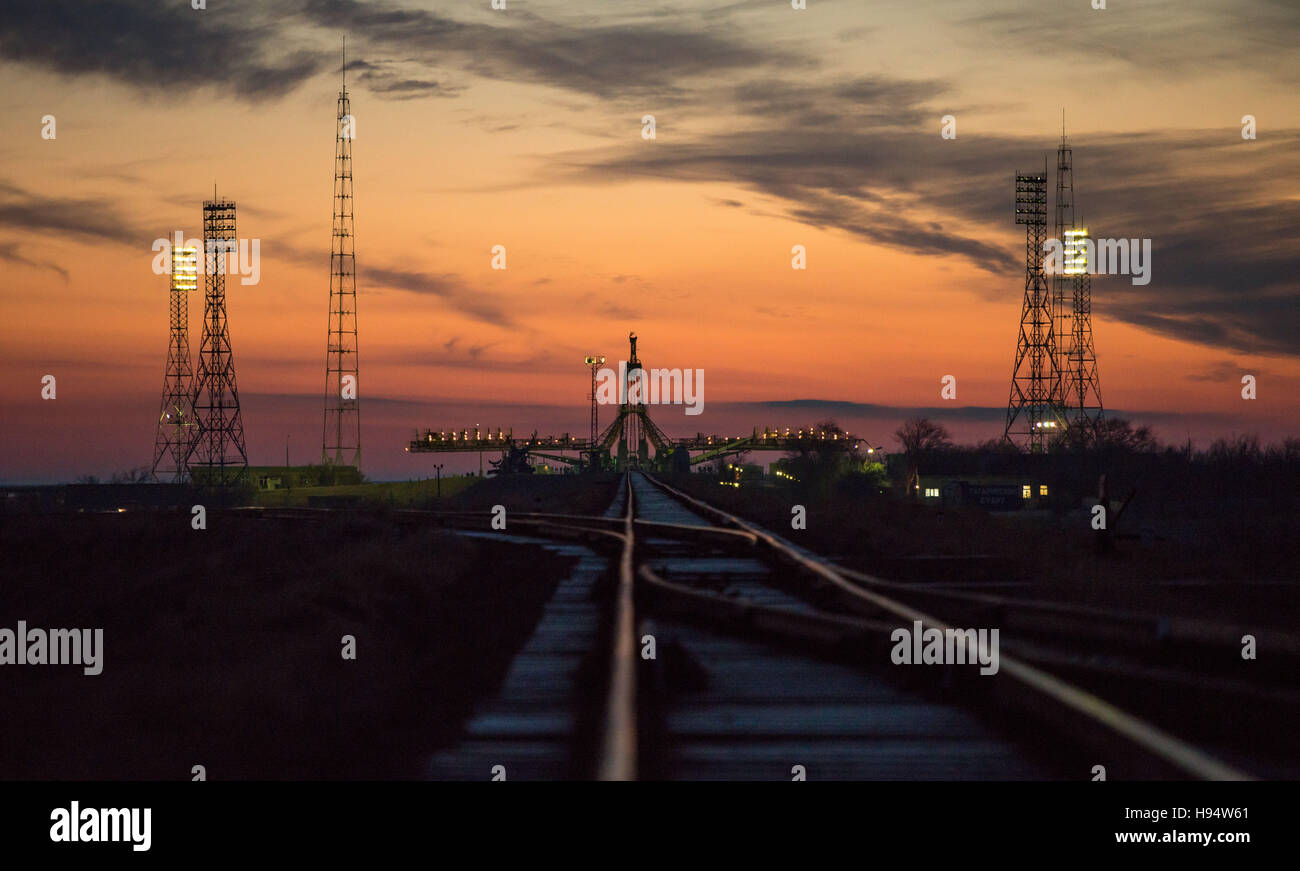 The Russian Soyuz rocket and Soyuz MS-03 spacecraft are rolled by train to the Baikonur Cosmodrome launch pad in - Stock Image