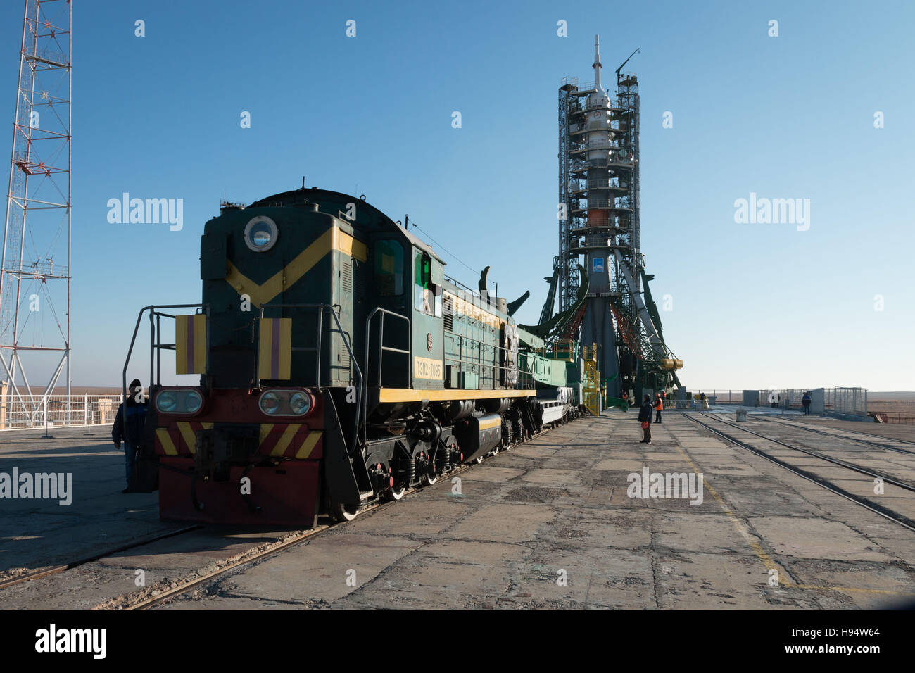 The Russian Soyuz rocket and Soyuz MS-03 spacecraft sits on the Baikonur Cosmodrome launch pad in preparation for - Stock Image