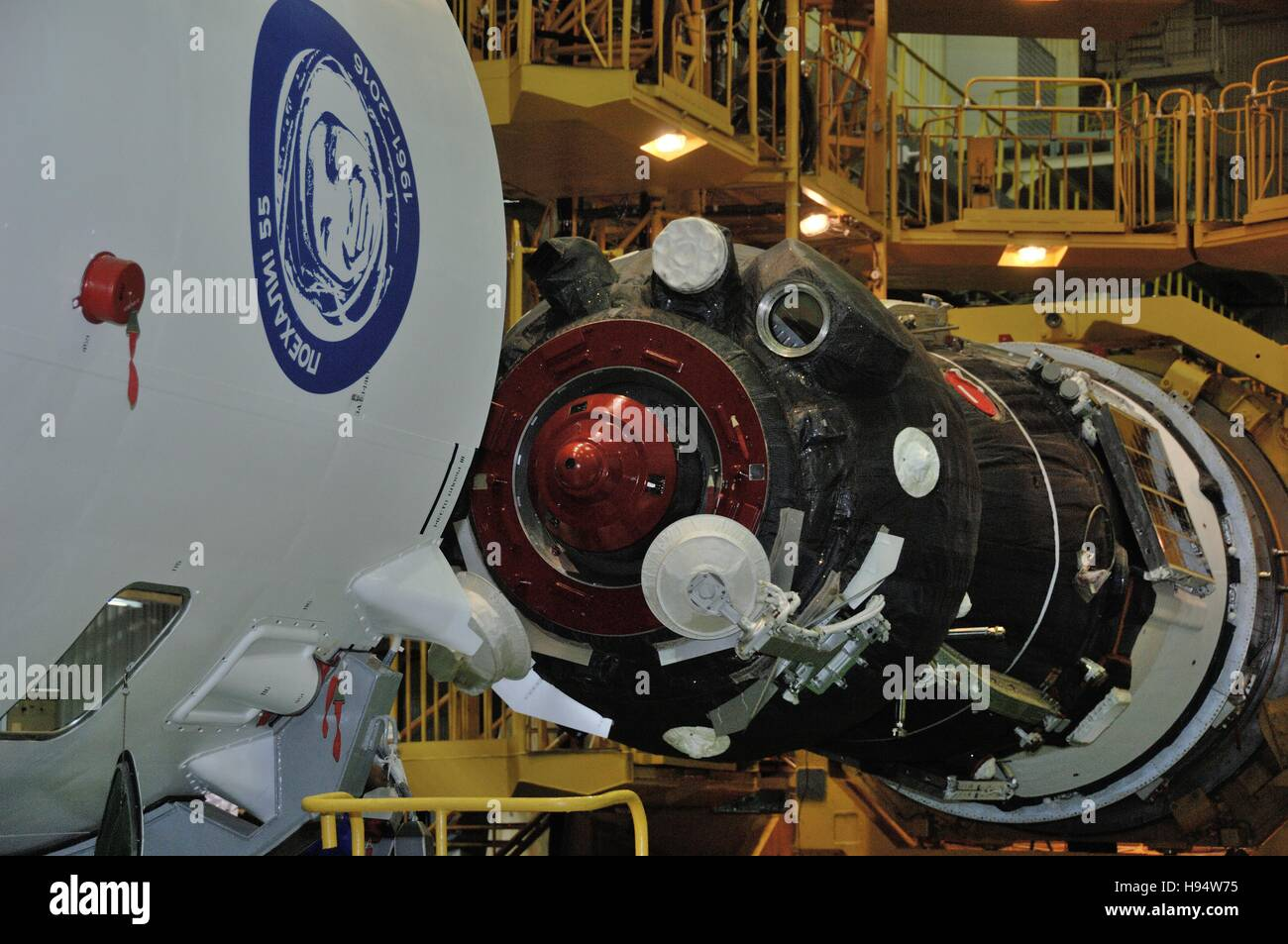The Russian Soyuz MS-03 spacecraft is prepared for encapsulation for the NASA International Space Station Expedition - Stock Image