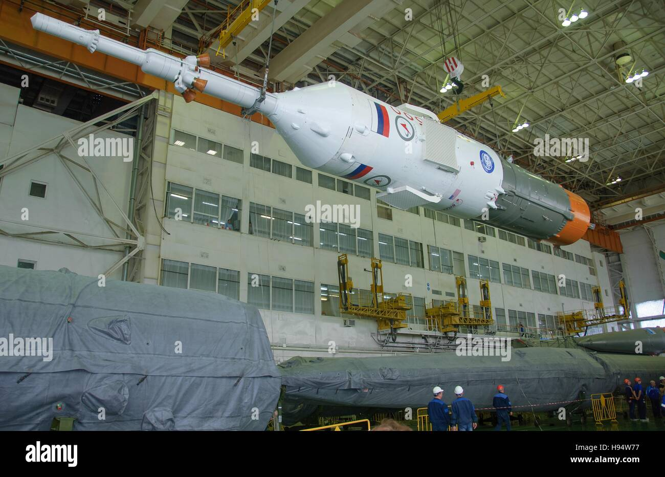 The Russian Soyuz rocket and Soyuz MS-03 spacecraft are assembled in preparation for the NASA International Space - Stock Image