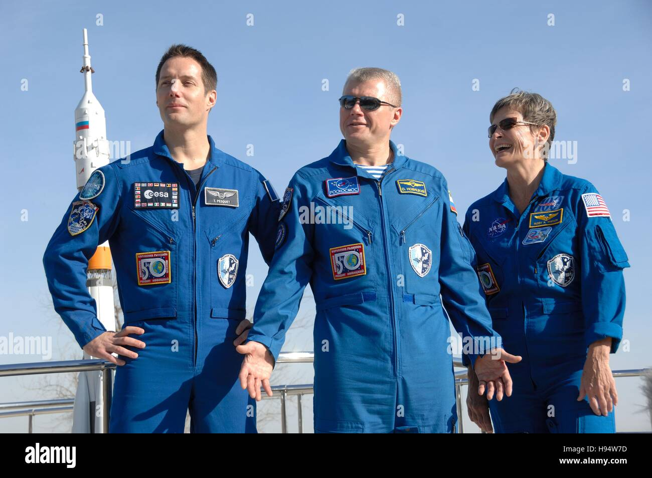 NASA International Space Station Expedition 50-51 prime crew members (L-R) French astronaut Thomas Pesquet of the - Stock Image