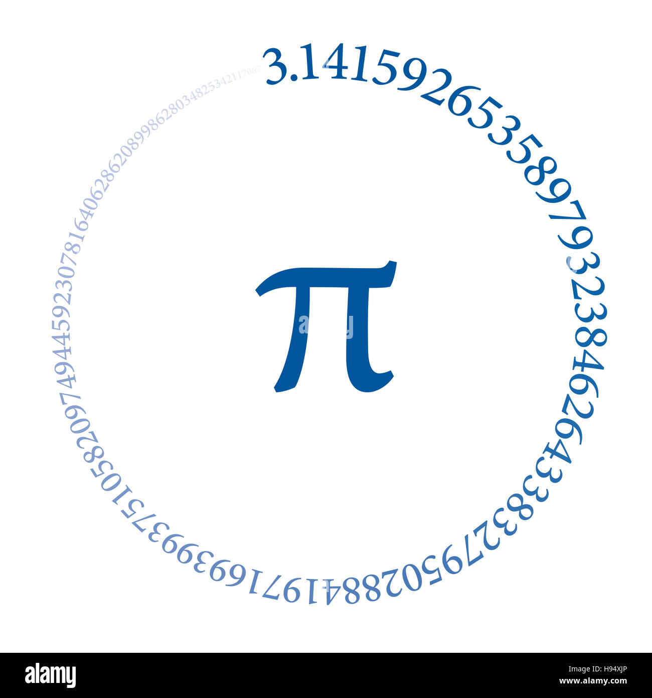 The first hundred digits of the number Pi are forming a circle. Value of the infinite number Pi accurate to ninety - Stock Image