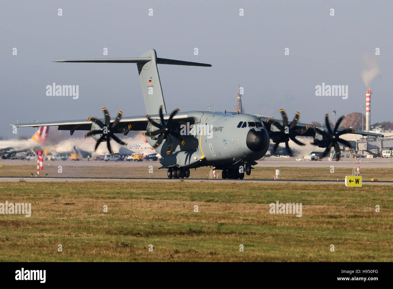 Stuttgart, Germany – October 31, 2016: Bundeswehr Luftwaffe, Airbus A400M is landing at Stuttgart Airport - Stock Image
