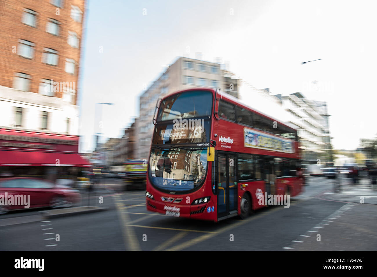 London, UK. 11th Nov, 2016. A bus travelling down a street in London, England, 11 November 2016. Photo: Wolfram Stock Photo