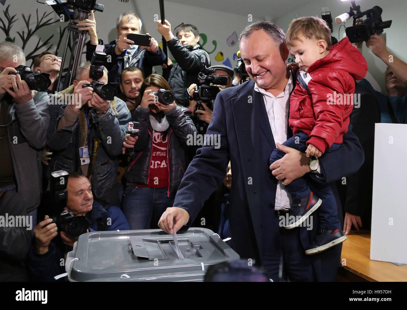 New York, USA. 13th Nov, 2016. File photo taken on Nov. 13, 2016 shows Igor Dodon casts his ballot at a polling Stock Photo