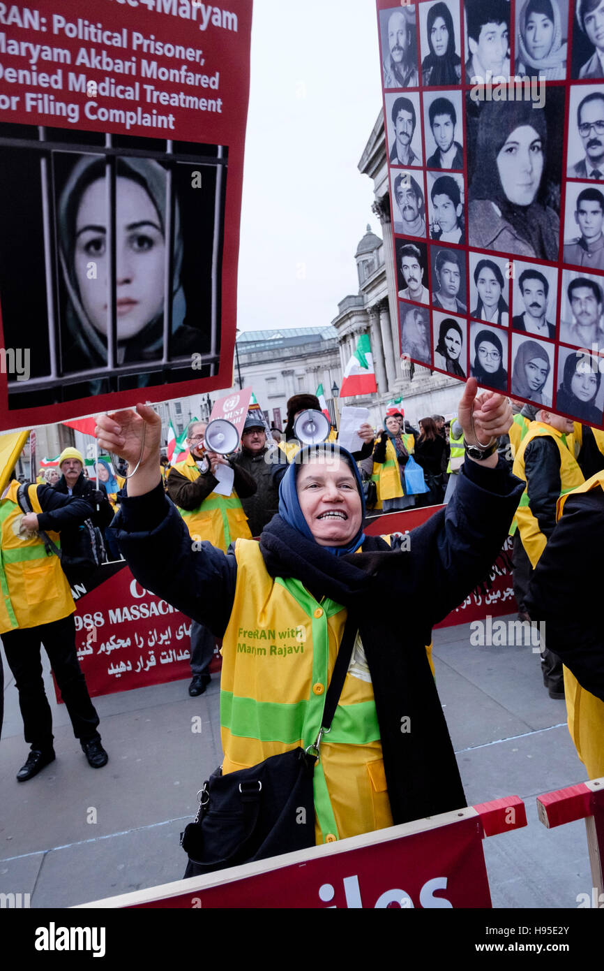 Iranian demonstrators protest against detention and murder of political prisoners by the authorities in Iran. London, - Stock Image