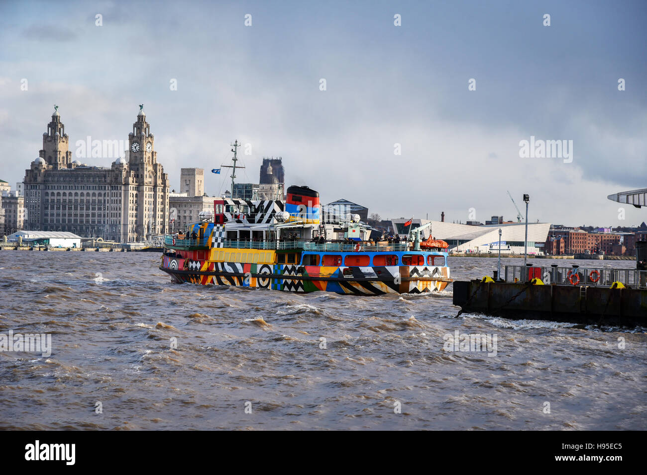 Seacombe. Wirral Cheshire North West, UK. 19th Nov, 2016. Dazzle Ferry Snowdrop resumes sailing. The Mersey Ferries - Stock Image