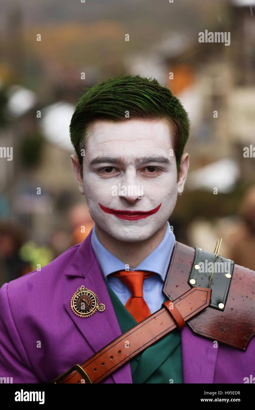 Haworth, UK. 19th Nov, 2016. A headshot of a man dressed like the Joker, a fictional character from the Batman films, Stock Photo