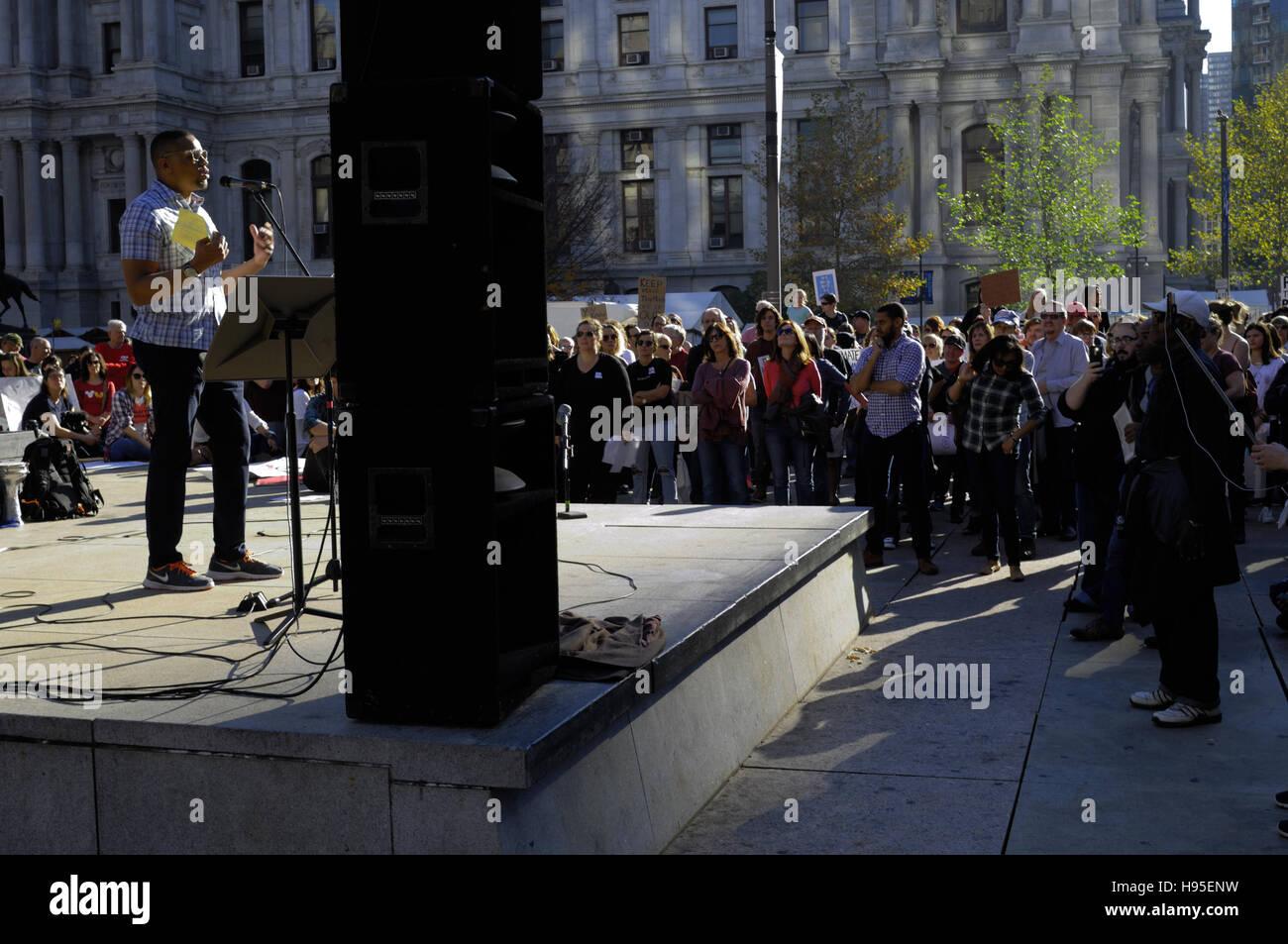 Philadelphia, Pennsylvania, USA. 19th November, 2016. Hundreds participate in ongoing Anti-Trump protests, on Nov. Stock Photo