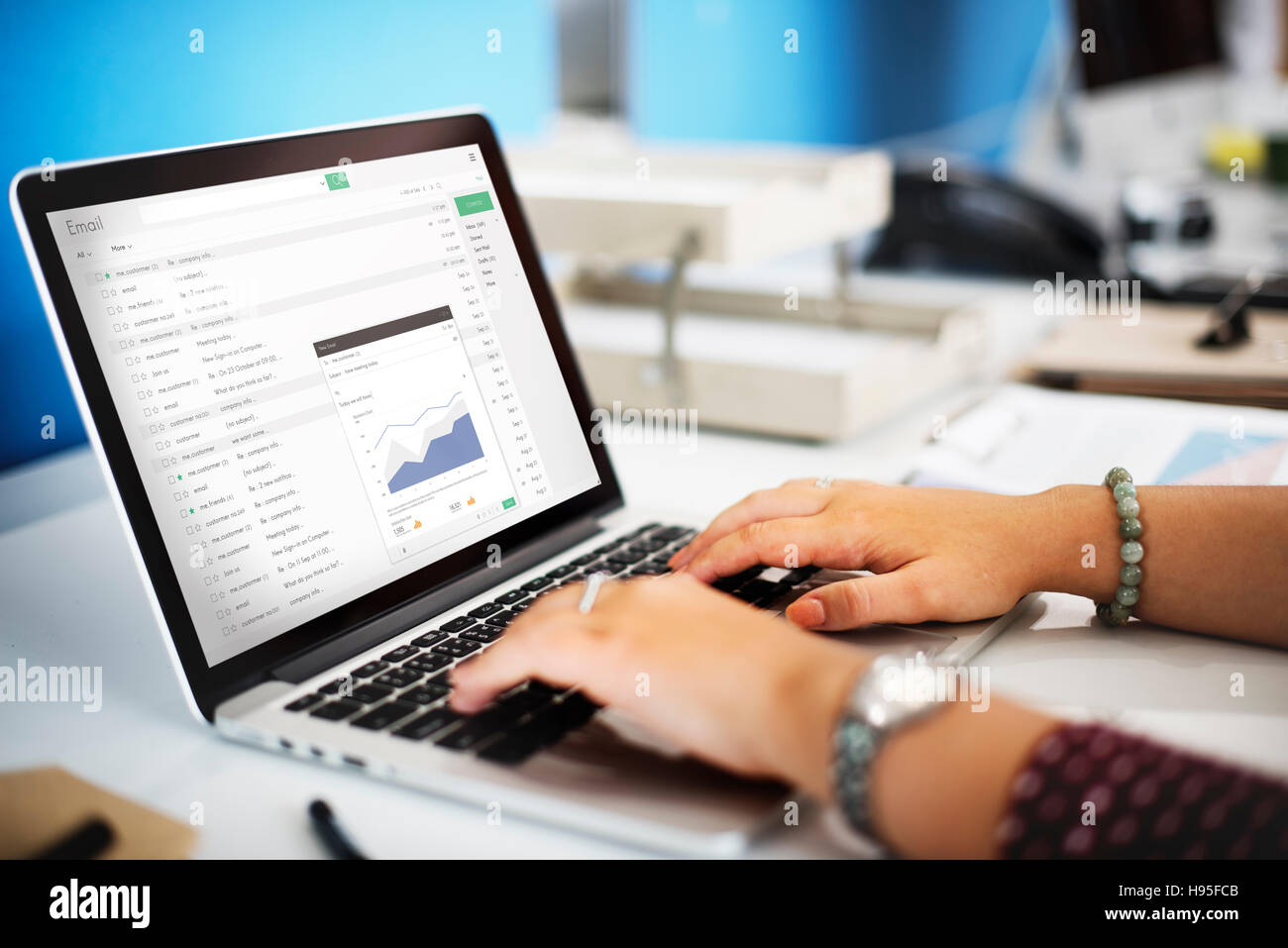 Send Email Business Chart Attachment Report Concept - Stock Image
