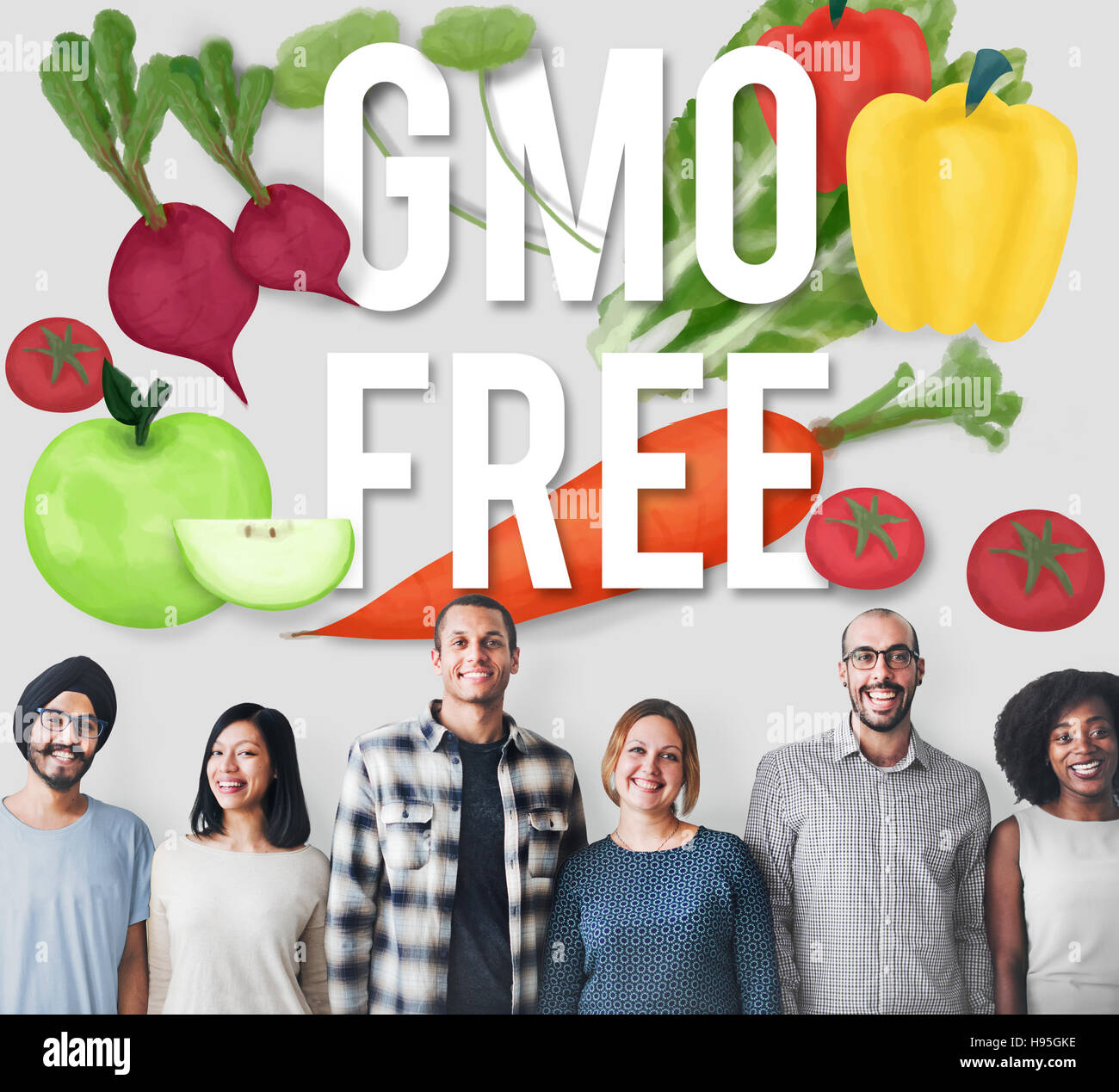 GMO Free Genetically Modified Organism Healthy Concept - Stock Image