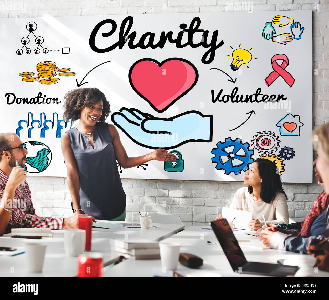 Charity Donate Welfare Generosity Charitable Giving Concept - Stock Image