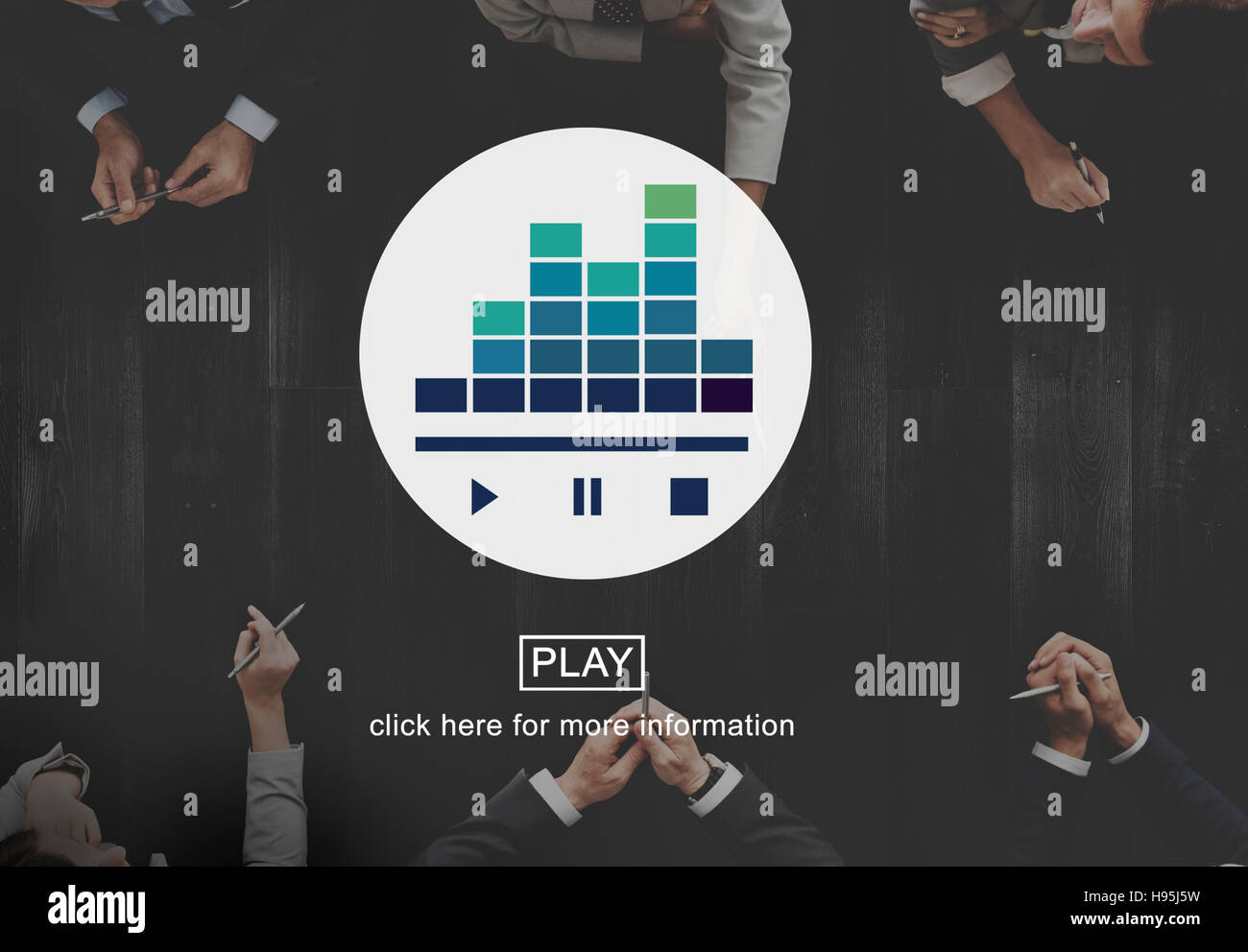 Play Pause Stop Video Music Concept - Stock Image