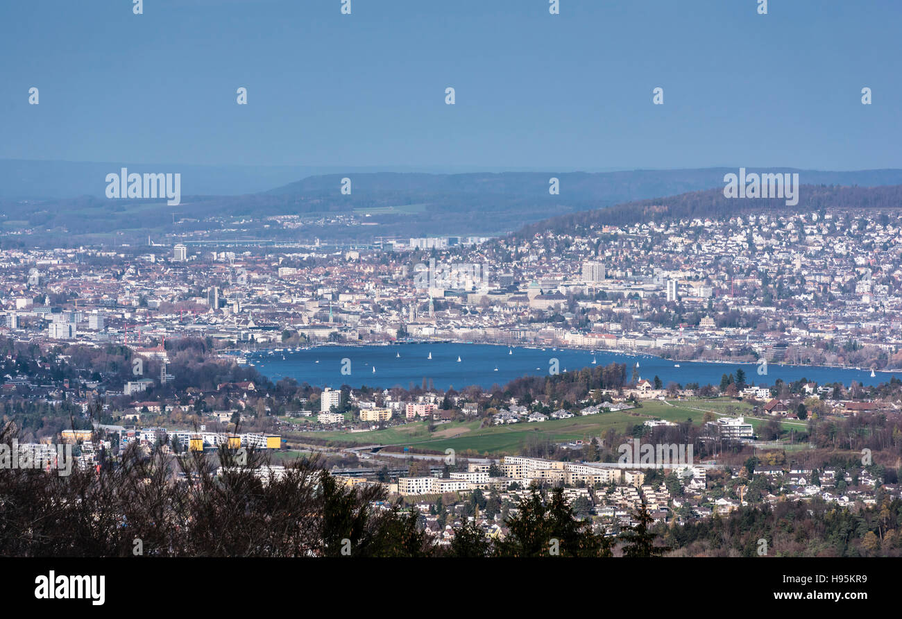 The city of Zurich, Switzerland, with lake Zurich in the foreground. Seen from Albispass, looking into northeastern - Stock Image