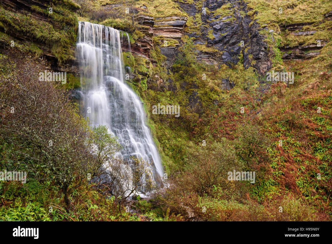 Waterfall near Kildonan shore, Isle of Arran, North Ayrshire, Scotland - Stock Image